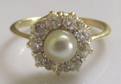 Victorian Gold Natural Pearl Multi Diamond Old Cut Round Cluster Ring Size N