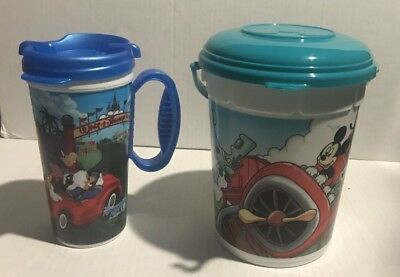 Disney Parks Popcorn Bucket & Plastic Mug Collectible Tub & Cup Lot of 2](Plastic Popcorn Buckets)