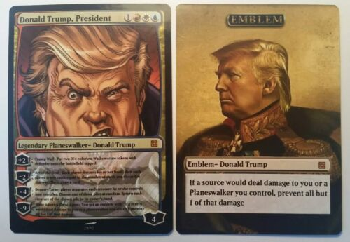 Donald Trump Planeswalker Card and Emblem! Magic the Gathering