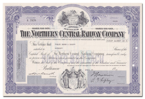 Northern Central Railway Company Stock Certificate