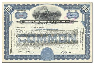 Western Maryland Railway Company Stock Certificate Western Railway Stock