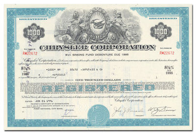 Chrysler Corporation Bond Certificate (Hood Ornament Vignette)