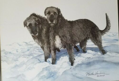 Original watercolor of a Irish Wolfhound pair in the snow by Martha Van Loan