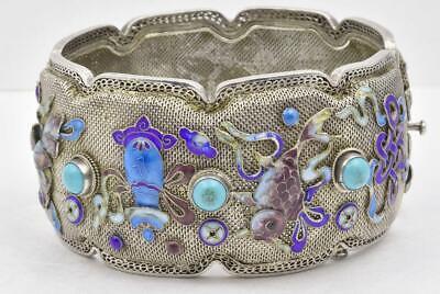Sterling Silver Asian goddess Curved Panel Bracelet 7 14