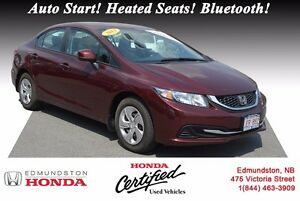 2013 Honda Civic Sedan LX Honda Certified! Auto Start! Heated Se