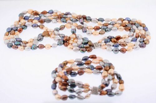 Wholesale Lot of 10 Multicolor 4-Strand Baroque Pearl Bracelet & Necklace Set