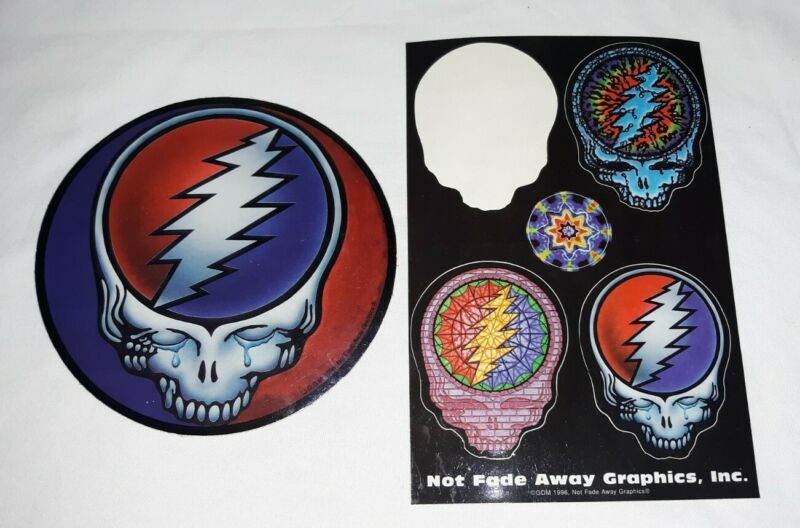Vintage 1996 Grateful Dead Sticker Decals Steal Your Face Not Fade Away Graphics