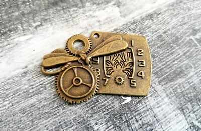 Steampunk Jewelry Supplies (Steampunk Clock Pendant Dragonfly Gears Charm Antiqued Bronze Jewelry)