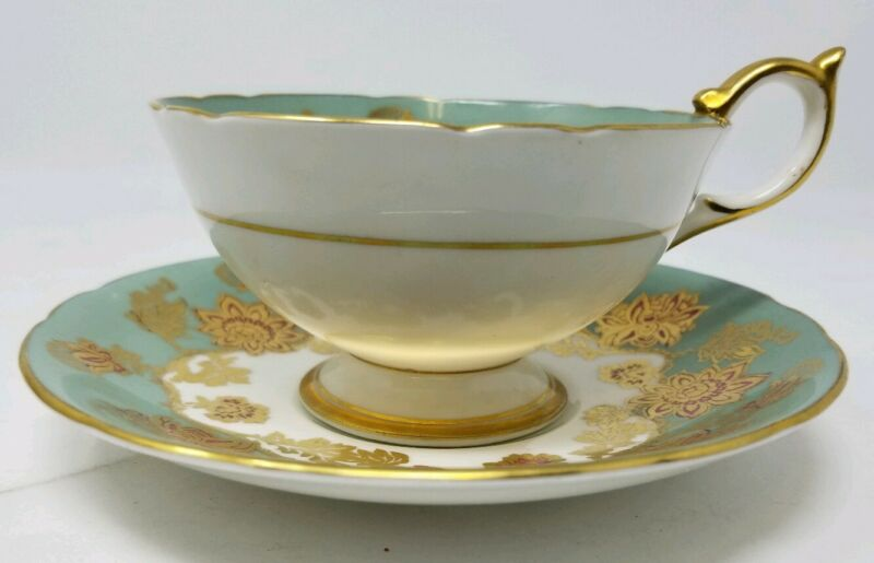 Aynsley Teacup & Saucer Light Green, Gold and Muave