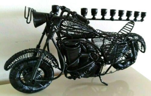 """Black Metal Menorah, Motorcycle Design, 12 in x 7 in x 2""""   8 Candle Holders.."""