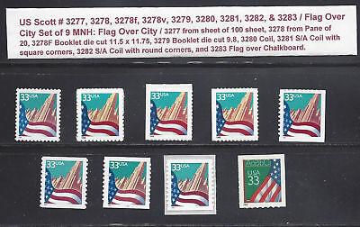 US Scott # 3277, 3278, 3278f & v, 3279 through 3283 / Flag Over City Set of 9