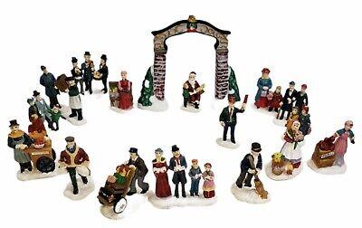 Victorian Village Grandeur Noel Train Village Arch And People 18 piece Set