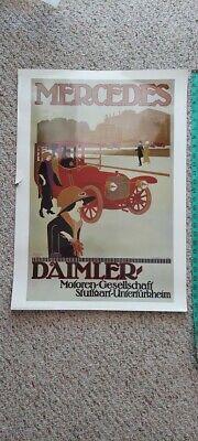 Vintage Italian Mercedes Daimler Car Advertising Poster, unframed, 28x20