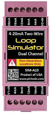 Analog 4-20mA Current Loop Simulator Dual Channel DIN Rail Mounted