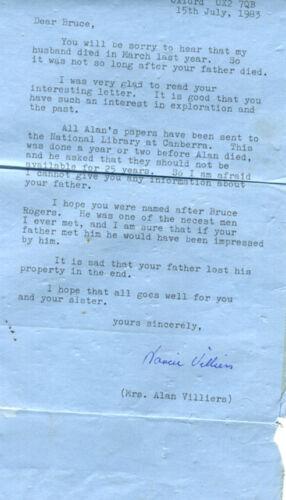 ALS Alan Villiers & 1938 autographed ALS 1983 from Mrs. Alan Villiers