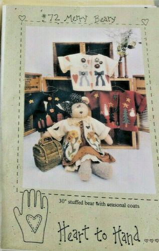 Stuffed Bear w/Seasonal Coats Pattern By Heart to Hand # 72 Merry Beary 1994 NIP