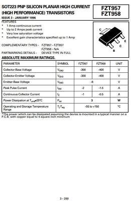 Fzt957 Sot223 Smd Pnp Transistor 300v 2a - 50 Pcs Lot