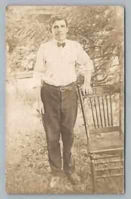 1920s Bow Ties   Gatsby Tie,  Art Deco Tie Bow-Tie Man w Woven Leather Belt RPPC Antique Penn Yan Estate Photo 1920s $9.99 AT vintagedancer.com