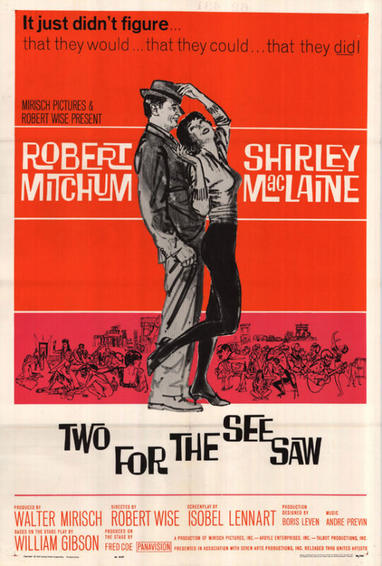 TWO FOR THE SEESAW Movie POSTER 27x40 Robert Mitchum Shirley MacLaine Edmon Ryan