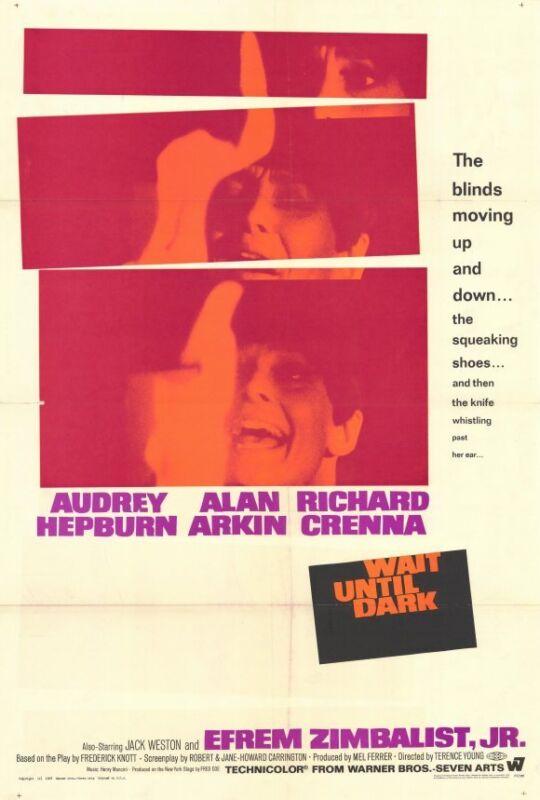 WAIT UNTIL DARK Movie POSTER 27x40 Audrey Hepburn Alan Arkin Richard Crenna
