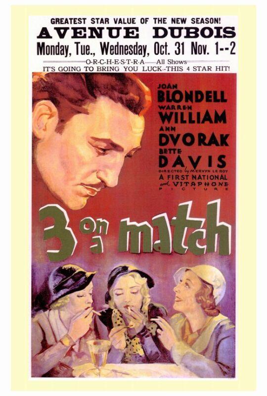THREE ON A MATCH Movie POSTER 27x40 Virginia Davis Joan Blondell Anne Shirley