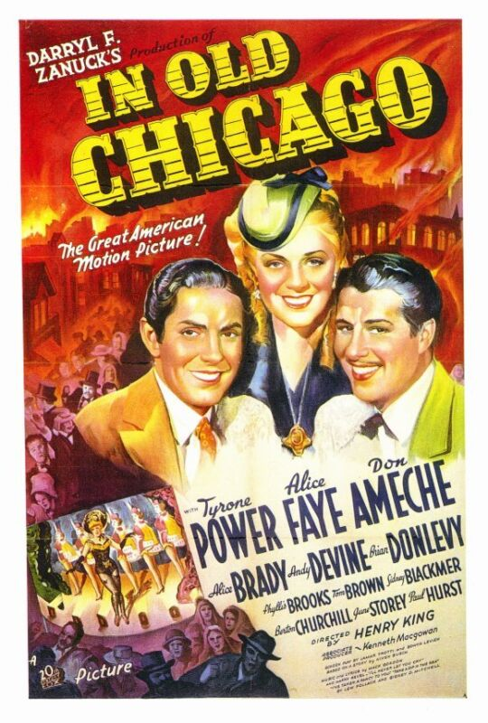 IN OLD CHICAGO Movie POSTER 27x40 Tyrone Power Alice Faye Don Ameche Alice Brady