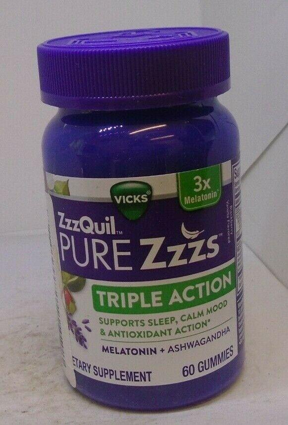 Vicks Pure ZZZs Triple Action Melatonin Ashwagandha 60 Gummies - $18.44