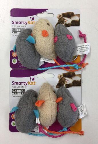SmartyKat Skitter Critters Catnip Mice Cat Toys, 2 Packs of