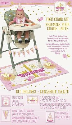 1st BIRTHDAY Pink and Gold HIGH CHAIR DECORATING KIT (4pc) ~ Party Supplies Bib - Pink And Gold Birthday Party Supplies