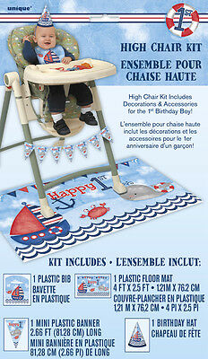 1st BIRTHDAY NAUTICAL HIGH CHAIR DECORATING KIT (4pc) ~ Party Supplies Hat Bib (Nautical Birthday Hat)