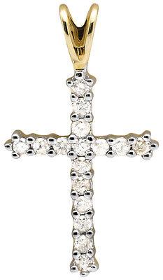 Solid 10K Yellow Gold Cross One Row Genuine Diamond 1 Inch Pendant Charm 0.25ct. - Gold Diamond Square Pendant