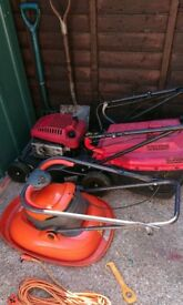 Petrol lawnmower (mountfield), electric flymo, shovel and fork