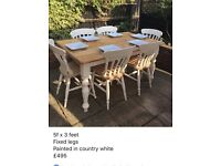 Solid pine table and six chairs