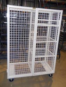 Armoire mobile métal - Cage grillagée roulante - Armoire grillage et tablettes - Armoire entreposage rangement matériel