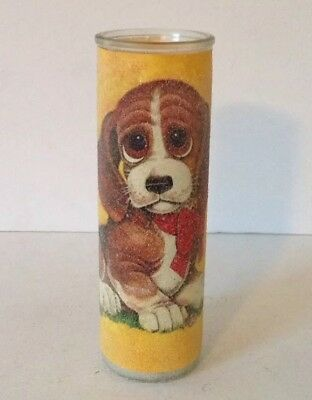 Vintage Sugar Frosted Glass Jar Pillar Candle Big Eyed Beagle Dog Puppy