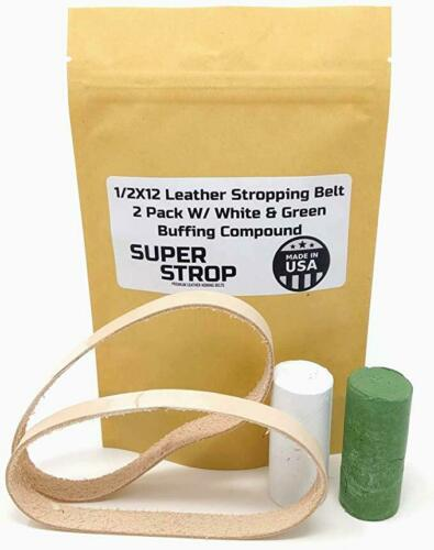 1/2X12 Inch 2 Pk Leather Honing Belts Super Strop Work Sharp Wht & Grn Compound