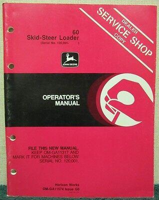 John Deere 60 Skid-steer Loader Operators Manual Om-ga11574 Issue G0