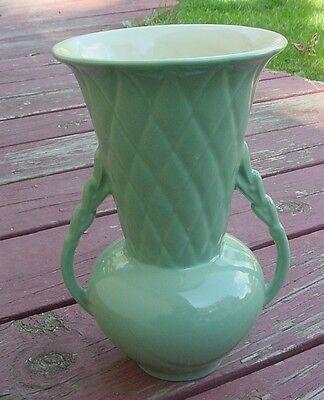 "Art Deco Abington ""Farmhouse"" Two Handled Vase Green Beautiful"
