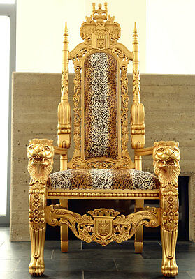 LION KINGCHAIR GOLD ca.180cm ♛-THRON SESSEL LEO-POLSTERUNG 100-% HANDMADE MASSIV