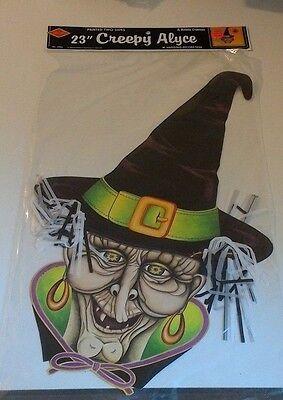 "Vintage Beistle Creepy Alice Witch 23"" Die-Cut Halloween Hanging Decoration 1988"