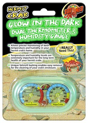 Zoo Med Hermit Crab Dual Thermometer & Humidity Gauge Glow in the Dark