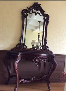 Victorian carved table and mirror
