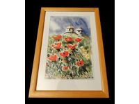 Water Colour Painting in Wooden Frame -Cyprus by Ron Sutton 1996