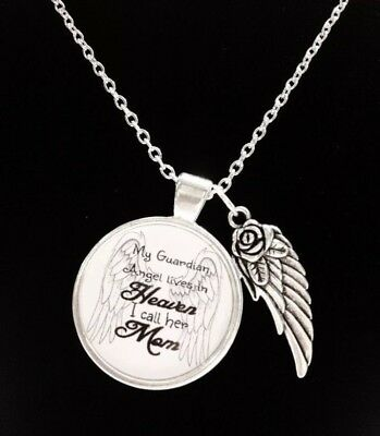 Memorial Necklace Mom Guardian Angel Mother In Heaven In Memory Sympathy Gift - Guardian Angel Necklace
