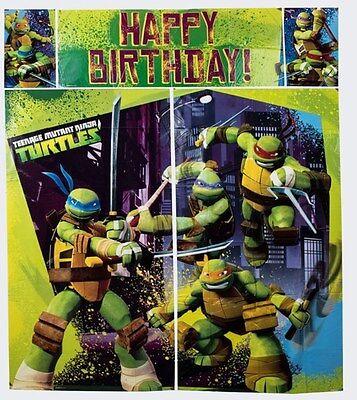 Tmnt Birthday Banner (TMNT Ninja Turtles Birthday Scene Setters Wall Banner Party Supplies)