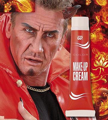 Rote Make up Creme Tube 28 ml, Teufel Vampir Fasching Halloween Schminke, rot ()