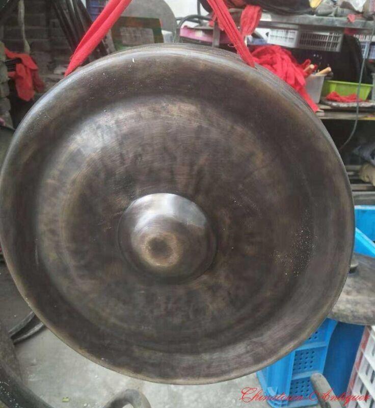"""14"""" Tibetan Buddhist Ritual Lion Gong Convex Gong Bell Bronze Hand Bell 疙瘩鑼#1606"""