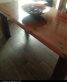 Beautifully french polished Dining table .Very Solid OAK . No chairs hence price . Seats upto 6 ppl