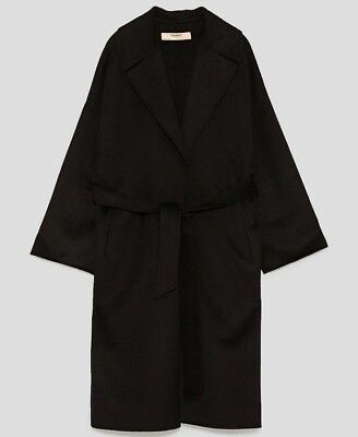 Langer Mantel mit Gürtel, ZARA, Gr. XS, schwarz, Wollmix, NEU Langer Schwarzer Wollmantel