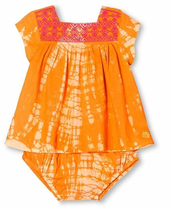 Baby Girls Happy by Pink Chicken Tie Dye Embroidered Dress- Citrus Orange (3-6M) Baby